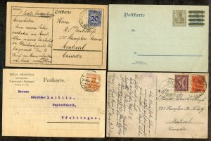 135 - GERMANY 1910s-20s Lot of (4) Postcards, two sent to CANADA. Postal Card