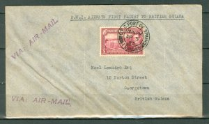 TRINIDAD & TOBAGO 1945  #54 on B.W.I. 1st FLIGHT AIR MAIL COVER - BR. GUIANA