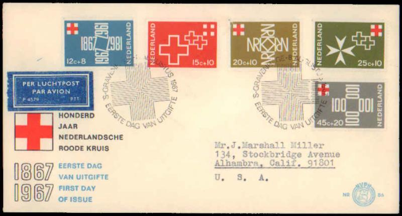 Netherlands, Worldwide First Day Cover, Red Cross