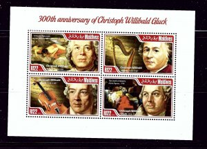 Maldive Is 3110 MNH 2014 300th Memorial Anniv of Christoph Gluck sheet of 4