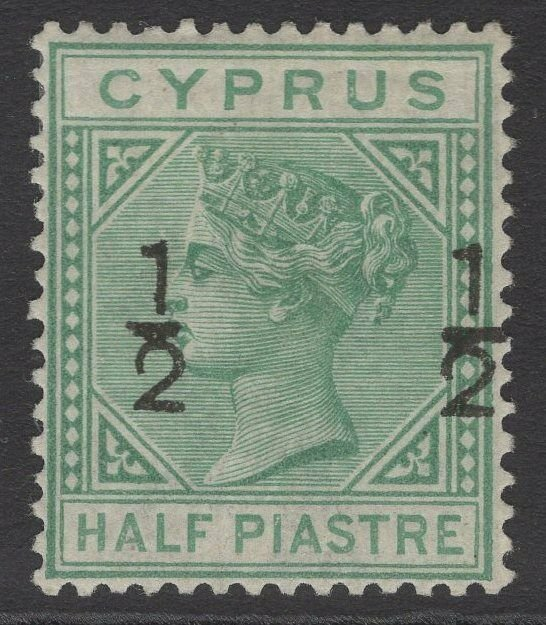 CYPRUS SG25 1882 ½ on ½pi EMERALD-GREEN MTD MINT