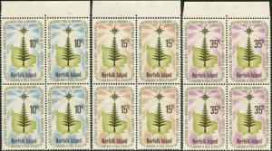 Norfolk Island 1975 SG165-167 Christmas star and pine set blocks FU