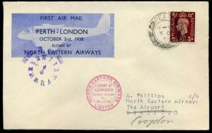 1938 First Flight North Eastern Airways Perth-London Croydon cachet