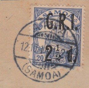 SAMOA 1914 GRI opt on German Samoa : 2½d used on piece Apia cds.............C486