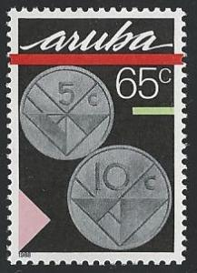 Aruba #34 65c Coins - 5 & 10cent 1988 mnh