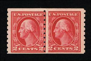 GENUINE SCOTT #413 MINT OG NH 1912 PERF-8½ TYPE-I SL-WMK COIL PASTE-UP PAIR 7058