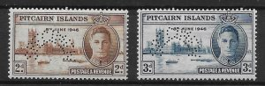 PITCAIRN ISLANDS SG9s/10s 1946 VICTORY SET SPECIMEN MNH