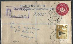 LESOTHO  (PP0609B)  1970 10   RLE+2 1/2C REG RROM MAZENOD TO MORIJA