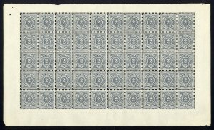 w44 Wurttemberg Scott #55 2pf slate gray Mint OG NH full pane of 50 Scarce