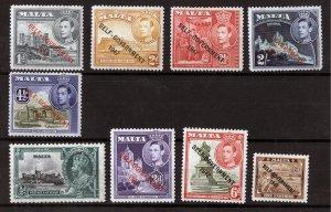 MALTA, SERIE, King George VI,1947, OVERPRINT Self Government, NOT USED