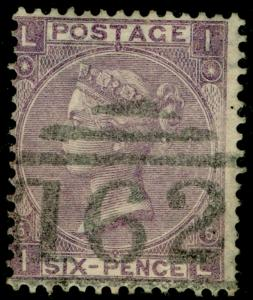 SG97, 6d lilac PLATE 6, USED. Cat £225. IL