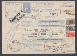 Italy, 1960 Parcel Post Postal Stationery to Buenos Aires uprated with 3 stamps