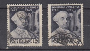 J29669, 2 1949 italy set of 1 used #530 composer