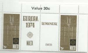 Malta #481   3c 1974 Europa  pairs & labels   (MNH)