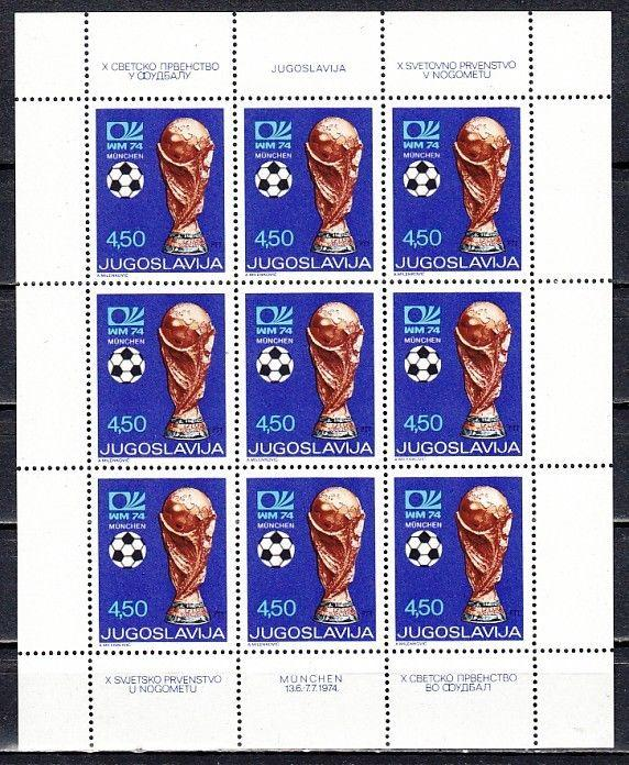 // Yugoslavia, Scott cat. 1216. World Cup Soccer sheet of 9.