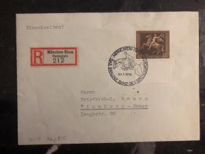 1938 Munich Germany Souvenir Cover To Nienburg Stamp #B119