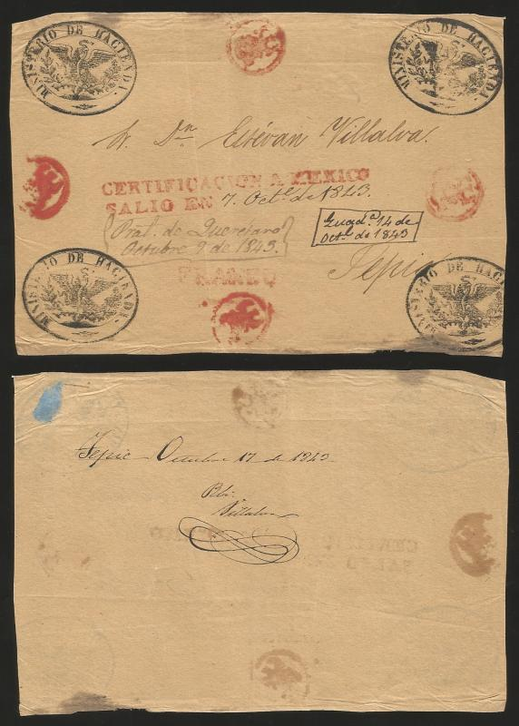 J) 1843 MEXICO, RED CERTIFICATION HANDSTAMP (YB M20) MANUSCRIPT DATE ON OFFICAL