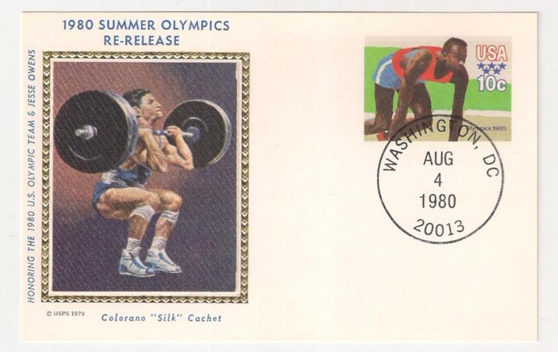 10c #UX80 Olympics card Re-Release First Day Colorano Silk