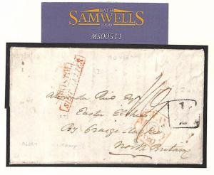 MS511 TOBAGO HISTORIC LETTER 1820 Cover Scotland ADD HALF *Bristol Ship Letter*
