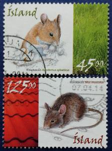 Iceland Mice Stamp Set Scott # 1037-8 Used (I904)