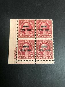 647 Plate Block Xtra Fine Mint Never Hinged