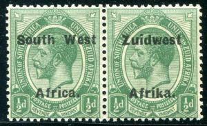 HERRICKSTAMP SOUTH WEST AFRICA Sc.# 29 KG V Pair Mint NH