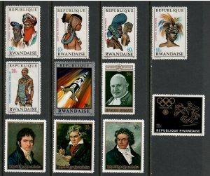 11 Mixed Rwanda Unused Stamps , F-VF OG HR - I Combine S/H