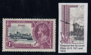 Fiji, SG 245f, MLH Diagonal Line by Turret variety