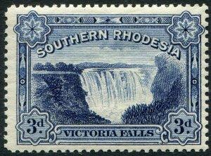 SOUTHERN RHODESIA-1932 3d Deep Ultramarine Sg 30 MOUNTED MINT V48910