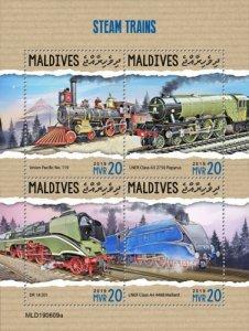 MALDIVES - 2019 - Steam Trains - Perf 4v Sheet - MNH