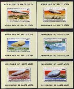 Upper Volta 1976 Zeppelin Airships set of 6 perforated De...
