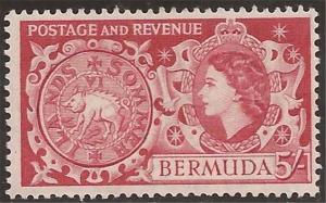 Bermuda - 1953 5sh Hog Coin - Stamp MH - Scott #160