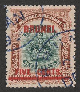 BRUNEI : 1906 Labuan Crown 'FIVE CENTS' on 16c green & brown.