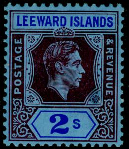 LEEWARD ISLANDS SG111, 2s reddish purple & blue/blue, LH MINT. Cat £32. CHALKY.