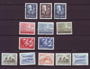 J2923 JL stamp sweden used1mh sets 484-6,487-9,492-3,494-8