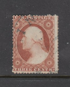 US #25 3c George Washington PERFORATED Type I stamp cv$125.00