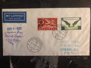 1935 Zurich Switzerland First Flight Cover to Basel London Newark # C19 C14 FFC