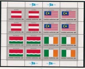 United Nations - New York # 374-389, Flag Sheets, NH, 1/3