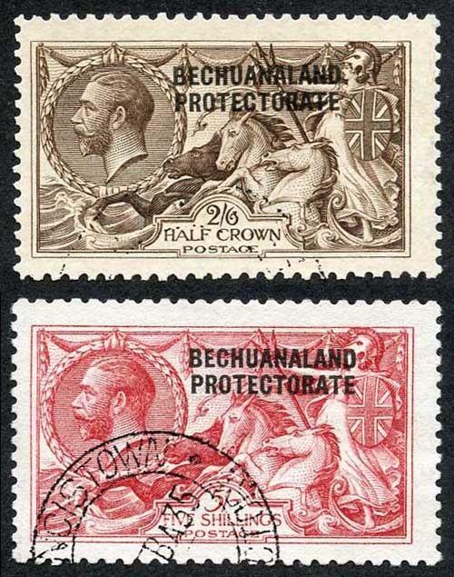 Bechuanaland Protectorate SG83/4 2/6 and 5/- Waterlow Seahorse Opt