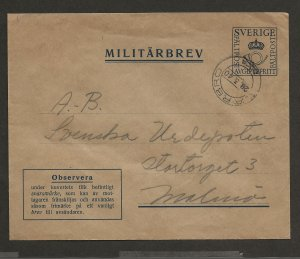 SWEDEN SC# M5I (FACIT)  MILITARY COVER  USED 1940