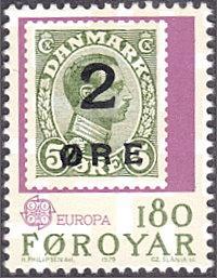 Faroe Islands # 44 mnh ~ 180o First Faroe Stamp