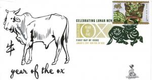 Lunar New Year, Year of the Ox FDC, from Toad Hall Covers!