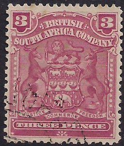 British South Africa Company 1898 - 08 QV 3d Claret used SG 81 ( A742 )