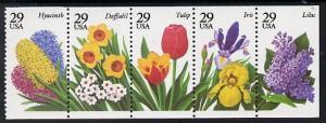 United States 1993 Garden Flowers se-tenant booklet pane ...