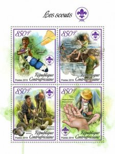 HERRICKSTAMP NEW ISSUES CENTRAL AFRICA Scouts Sheetlet