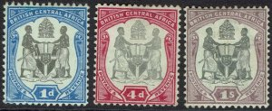 BRITISH CENTRAL AFRICA NYASLAND 1897 ARMS 1D 4D AND 1/-