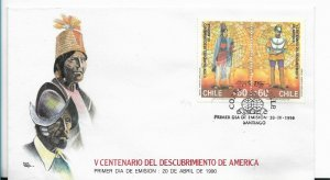 CHILE 1990 V CENTENARY DISCOVERY OF AMERICA FDC FIRST DAY COVER NATIVE AMERICAN