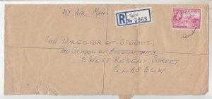 GOLD COAST, 1955 Reg. Airmail cover, QE 3d., 4d.(4), TWIFU cds., TWU mss. label
