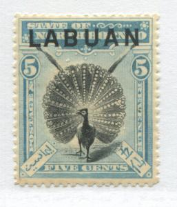 Labuan overprinted on North Borneo QV 1900 5 cents light blue & black mint o.g.