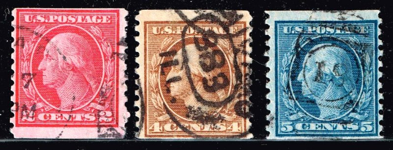 US STAMP 1916  Washington COIL USED STAMPS LOT